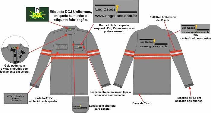 Uniforme antichama para eletricista nr10